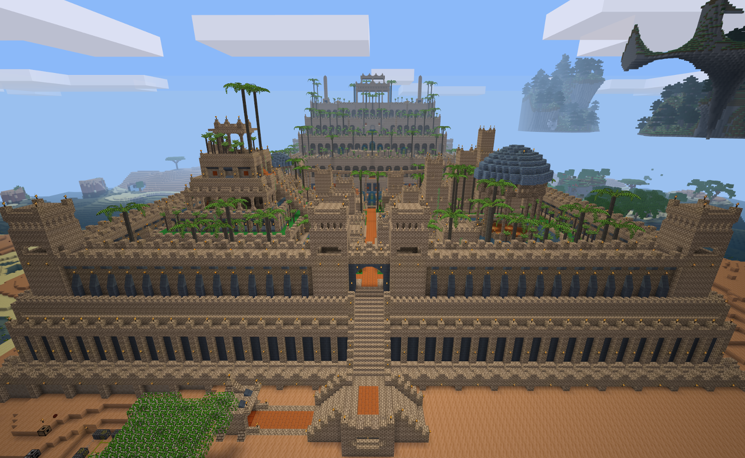Screenshot from Minetest showing a massive palace-like fortress filled with palm trees